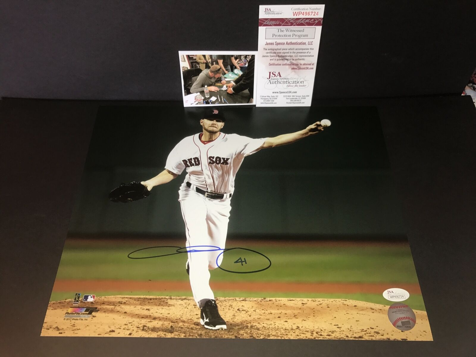 Chris Sale Boston Red Sox Autographed Signed 11x14 Photo JSA WITNESS COA 1