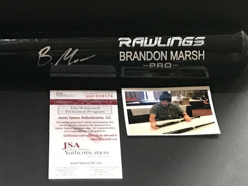 Brandon Marsh Los Angeles Angels Signed Engraved Bat JSA WITNESS COA Black B