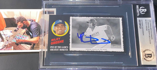 Riley Green Tigers Auto Signed 2020 Topps Heritage Greatest Moments Beckett -
