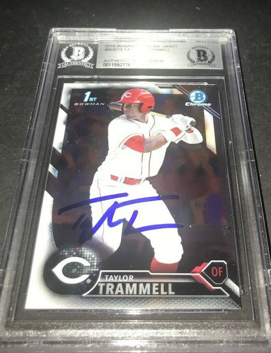 Taylor Trammell Padres SIGNED 2016 BOWMAN DRAFT CHROME BECKETT CERTIFIED 5