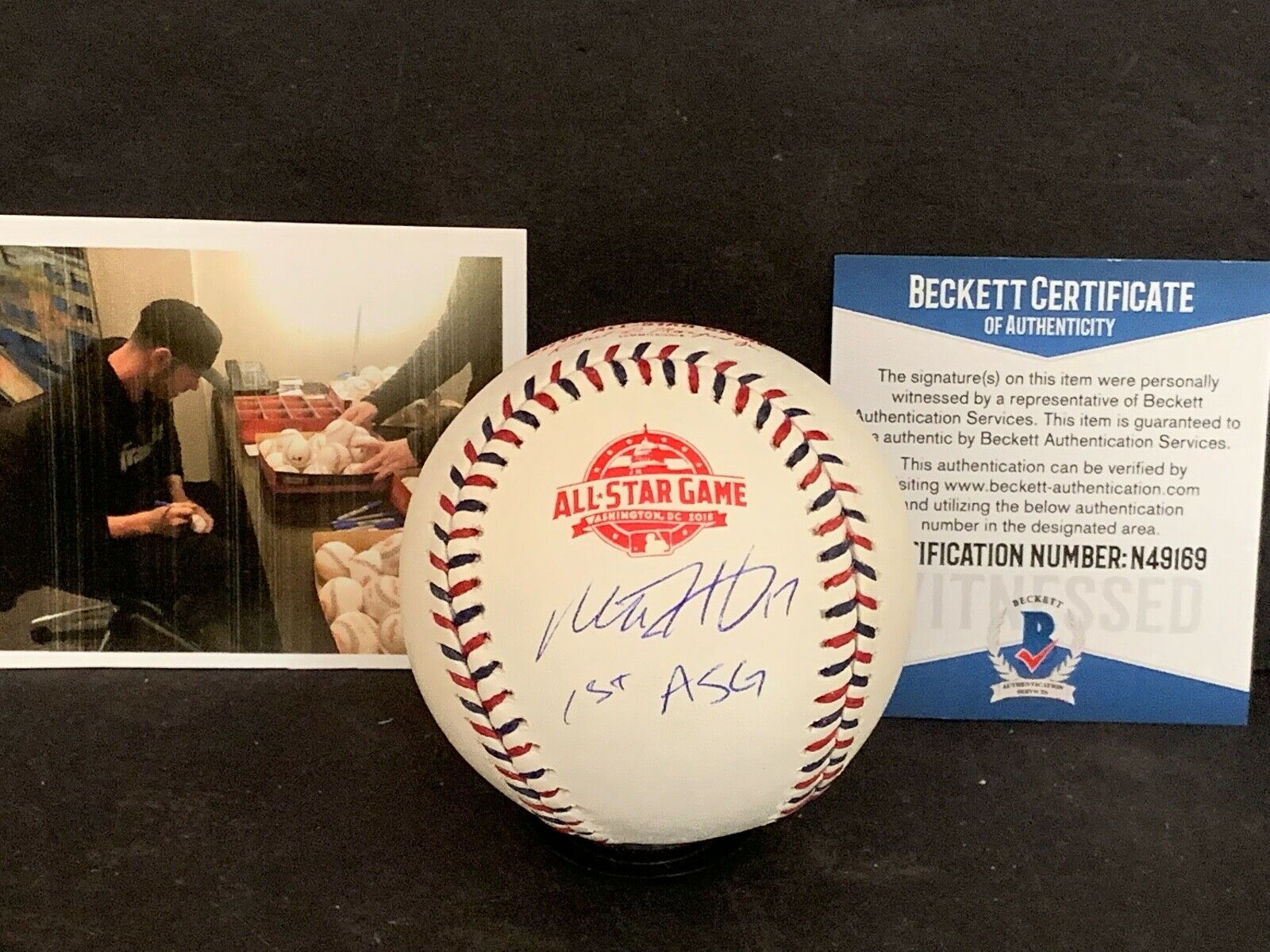 Mitch Haniger Mariners Signed 2018 All Star Baseball Beckett WITNESS 1st ASG