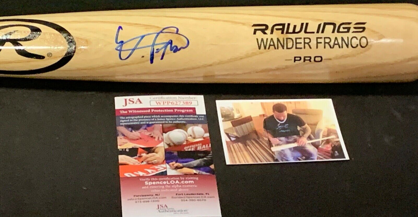 Wander Franco Tampa Bay Rays Signed Engraved Bat JSA WITNESS COA Blonde