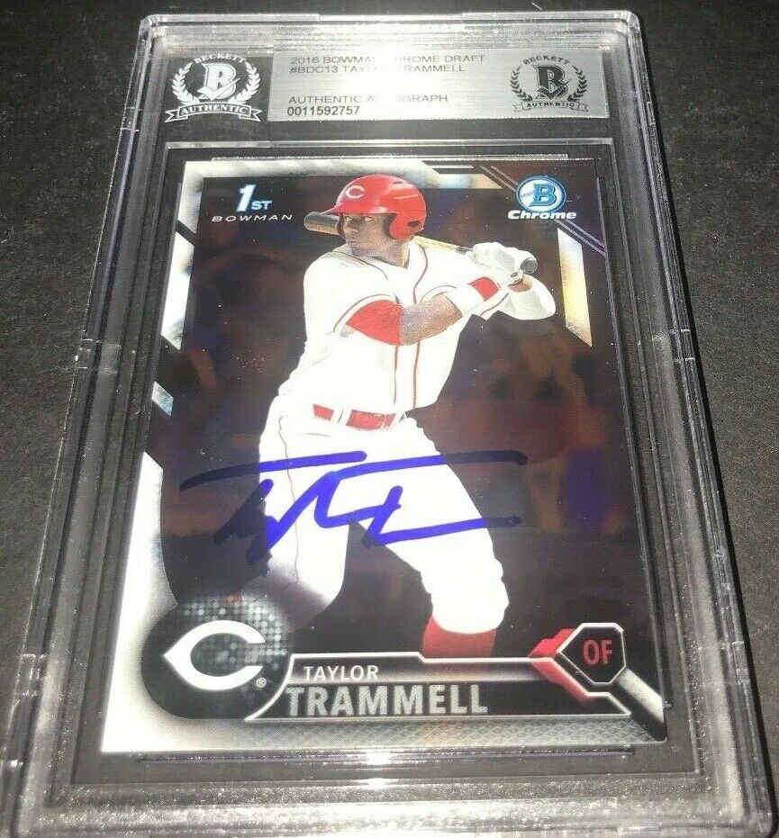 Taylor Trammell Padres SIGNED 2016 BOWMAN DRAFT CHROME BECKETT CERTIFIED y