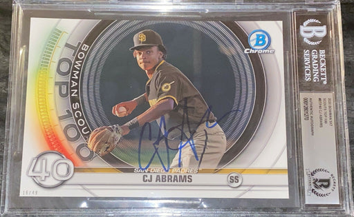 CJ Abrams Padres AUTO SIGNED 2020 5x7 Bowman Top 100 BECKETT SLAB