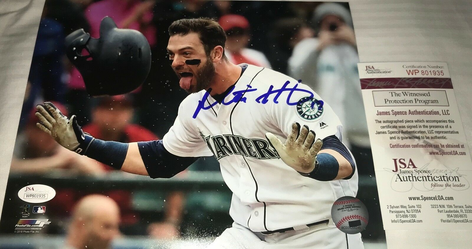 Mitch Haniger Mariners Autographed Signed 8x10 Photo JSA WITNESS COA Walkoff HR