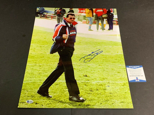 Mike Ditka Chicago Bears Autographed Signed 16x20 Finger Shot Beckett COA