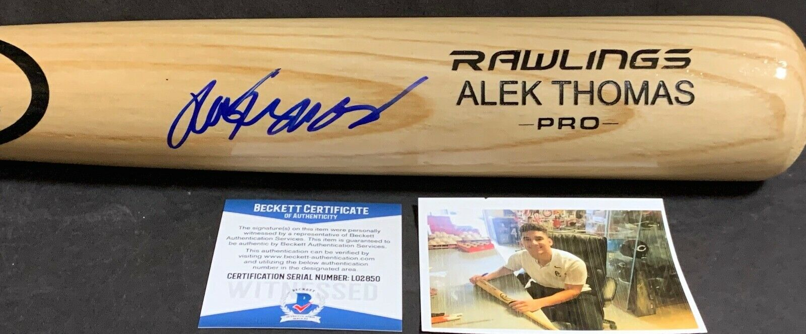 Alek Thomas Arizona Diamondbacks Signed Engraved Bat Beckett Wit COA Blonde