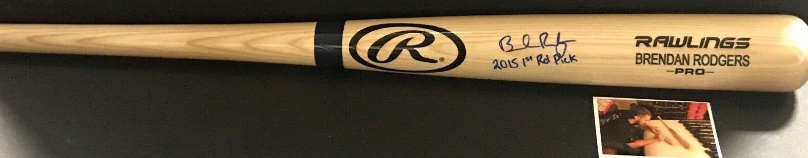 Brendan Rodgers Rockies Autographed Signed Black Full Size Bat 2015 1st Rd Pick