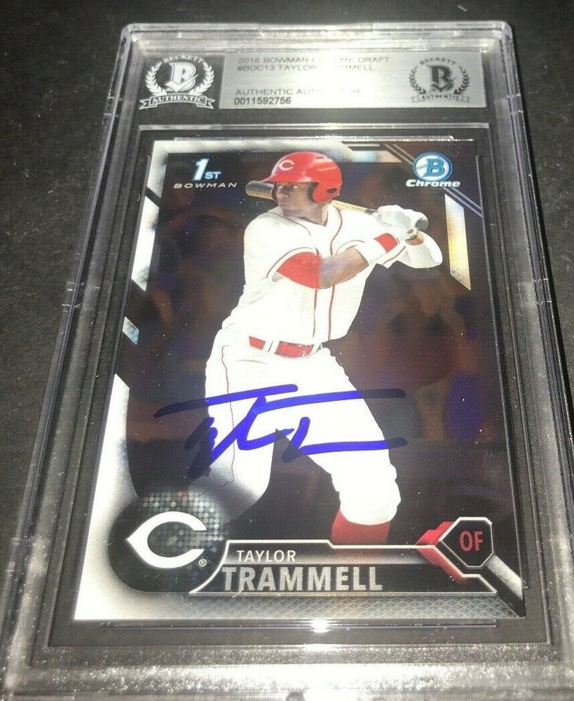 Taylor Trammell Padres SIGNED 2016 BOWMAN DRAFT CHROME BECKETT CERTIFIED z