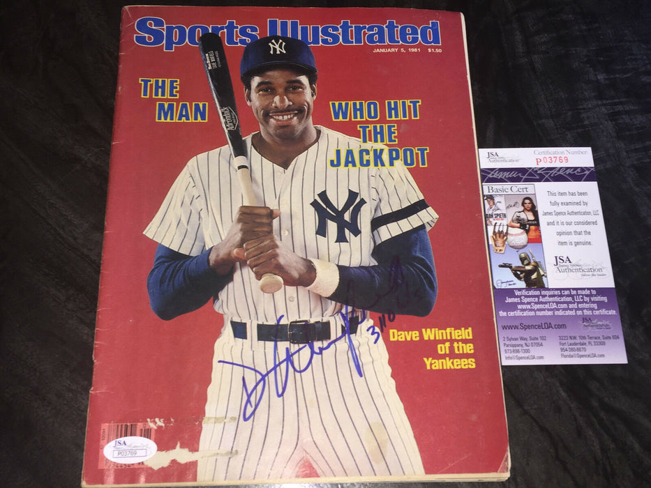 Dave Winfield New York Yankees Autographed Signed Sports Illustrated JSA COA