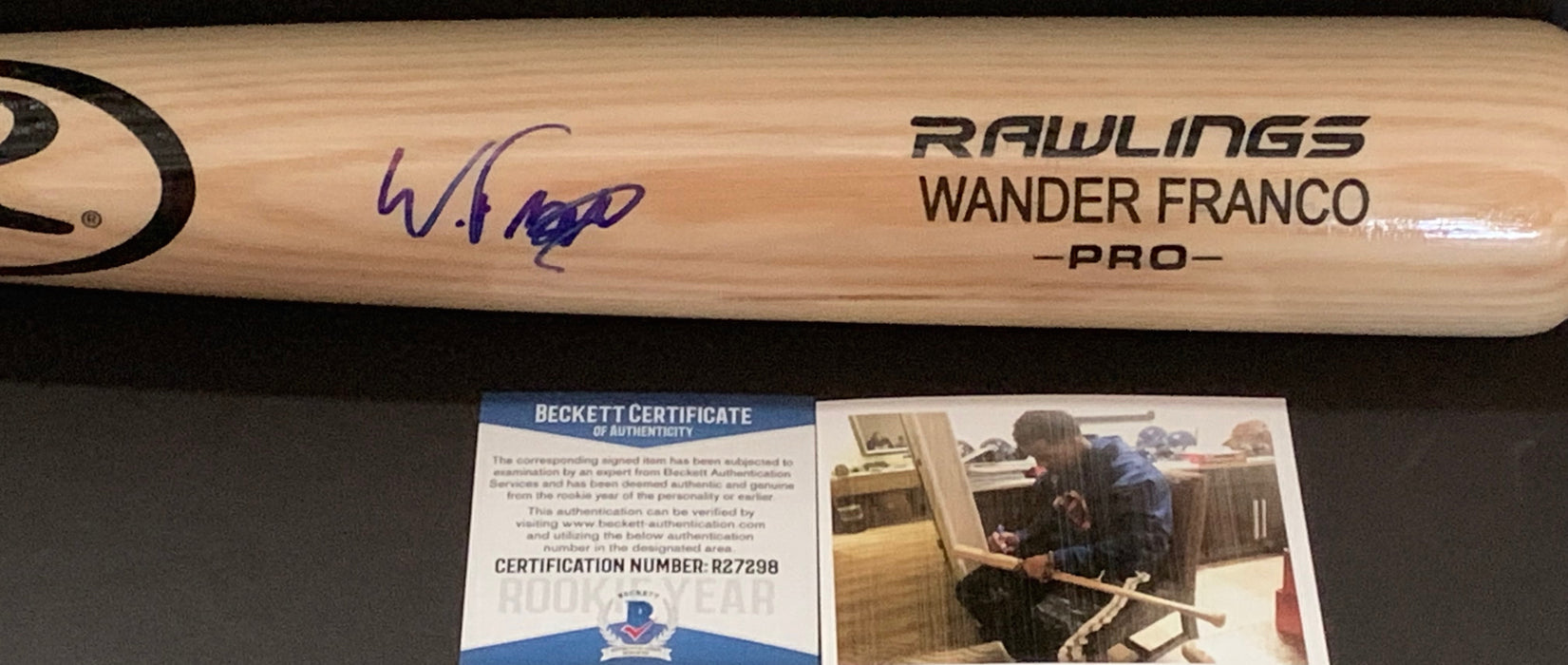Wander Franco Tampa Bay Rays Autographed Signed Engraved Blonde Bat Beckett Rookie COA