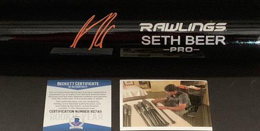 Seth Beer Arizona Diamondbacks Autographed Signed Engraved Black Bat Proof Orange Beckett ROOKIE COA