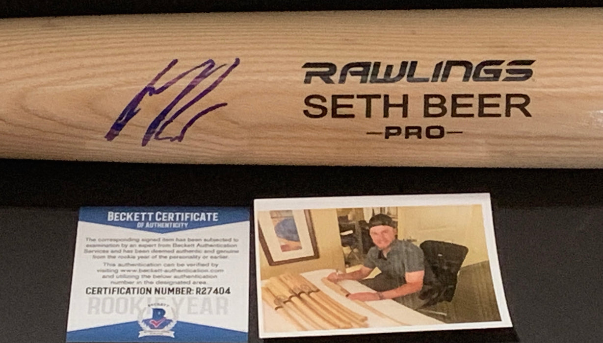 Seth Beer Arizona Diamondbacks Autographed Signed Engraved Blonde Bat Proof BECKETT ROOKIE COA