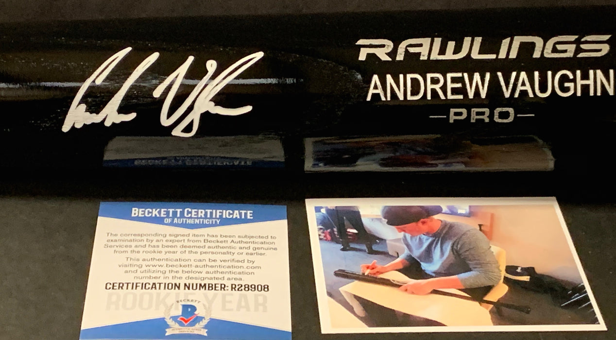Andrew Vaughn Chicago White Sox Signed Engraved Bat Beckett Witness COA Black