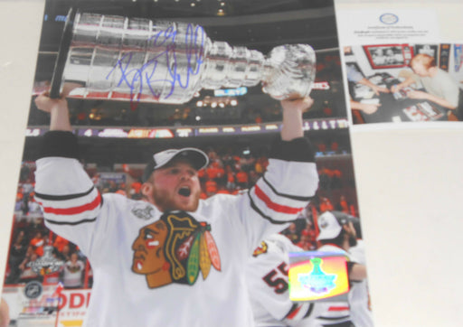 Bryan Bickell Chicago Blackhawks Signed 8x10 PROOF PIC 2010 Stanley Cup Champ