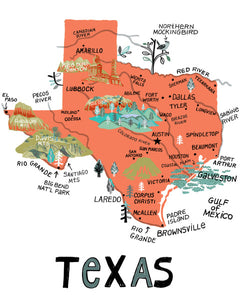 State of Texas Wall Art-color options available