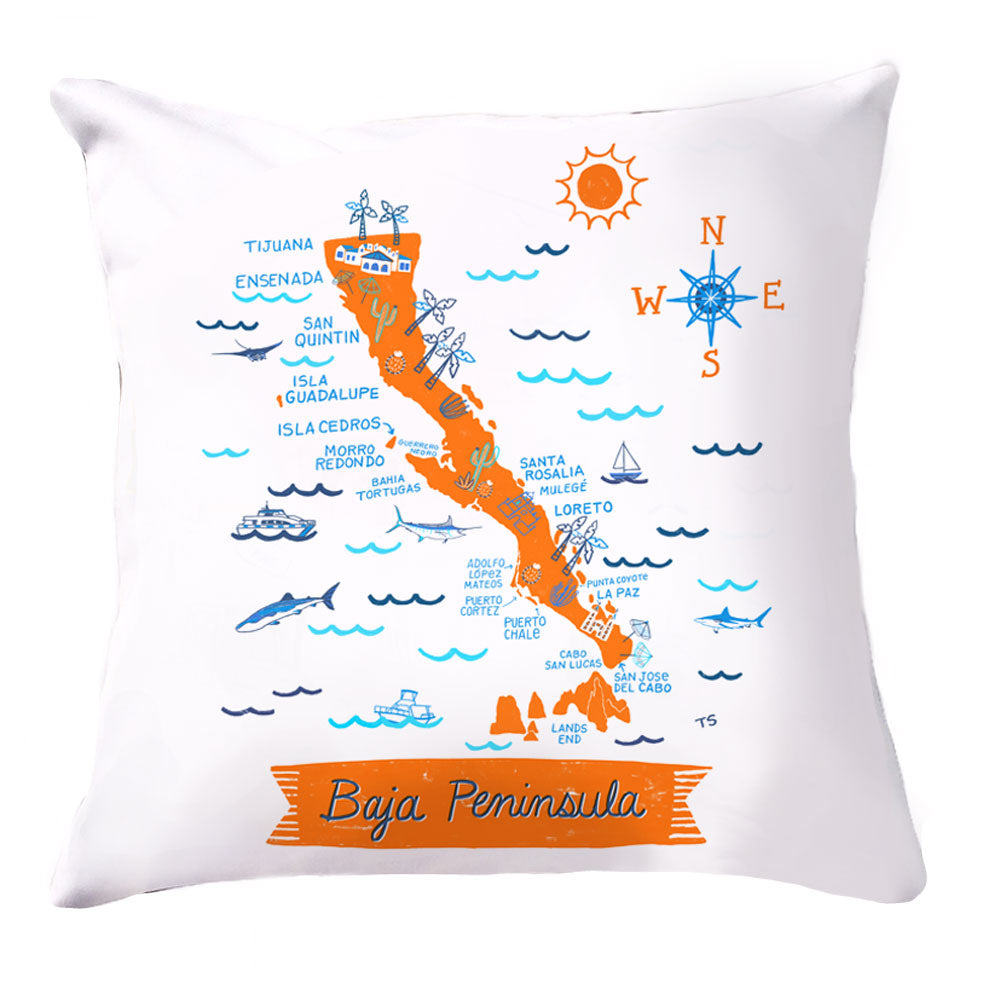 Baja Peninsula Pillow Cover-16 x 16