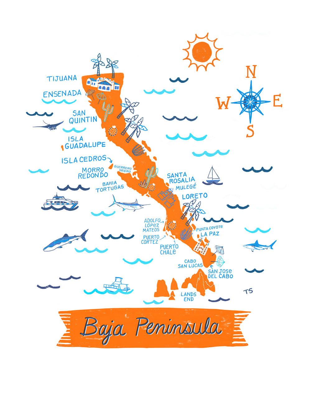 Baja Peninsula Wall Art-Custom City Print