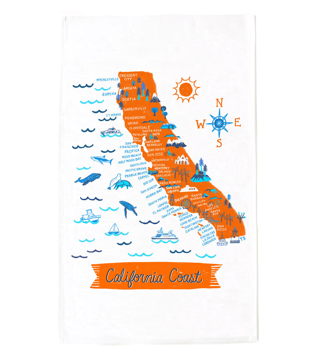 California Coast Tea Towel