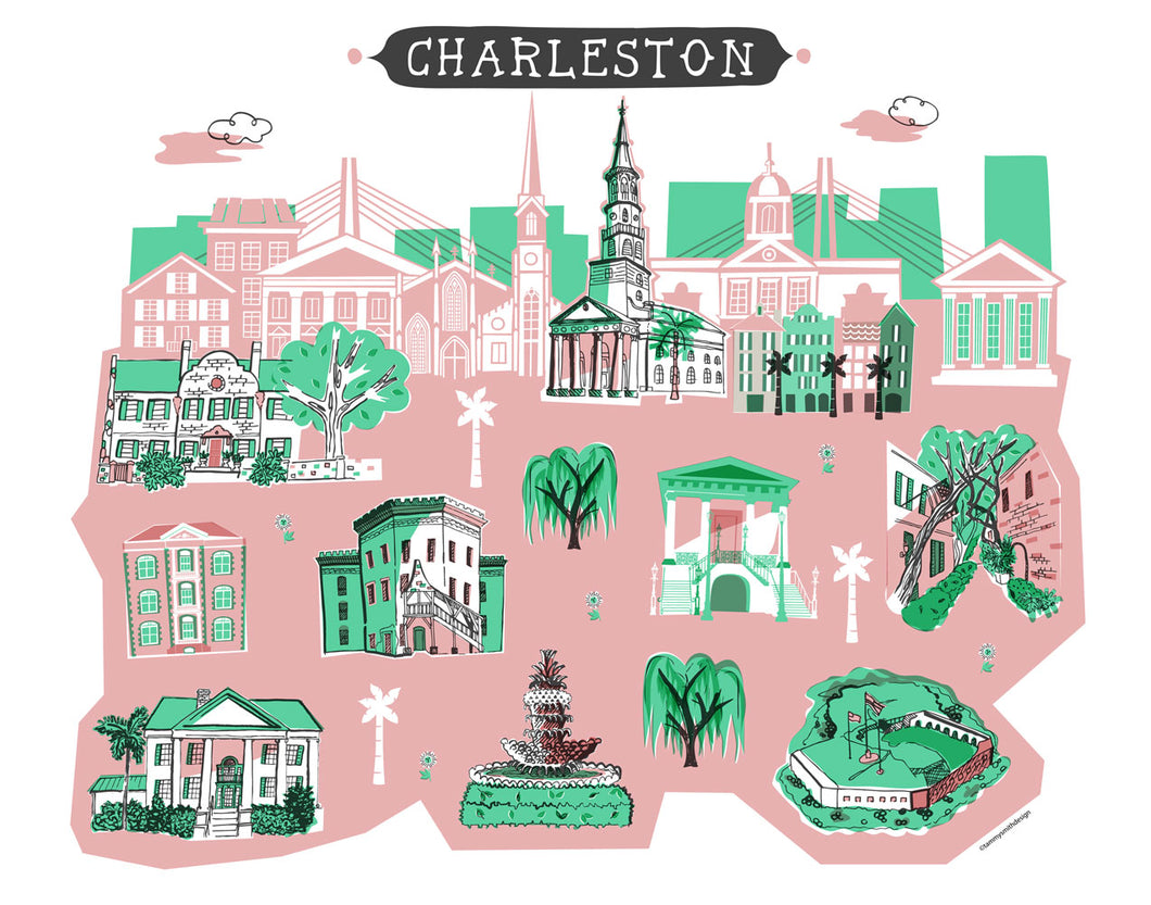 Charleston Wall Art-Custom City Print