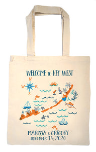 Florida Keys Wedding Welcome Tote Bag-Custom Wedding Tote