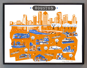 Houston Wall Art-Custom City Print