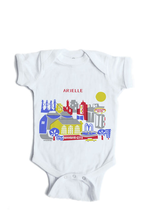 Kansas City MO skyline Baby Onesie-Personalized Baby Gift