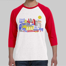 Kansas City Skyline Three-Quarter Sleeve Baseball T Shirt-Eco Friendly Print DTG