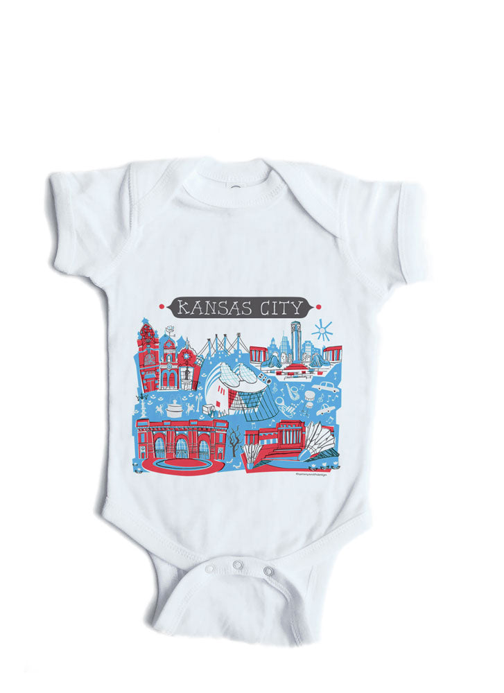 Kansas City Blue/Red Baby Onesie-Personalized Baby Gift