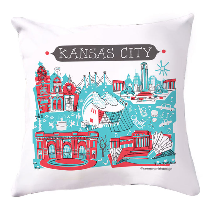 Kansas City Pillow Cover-Red/Turq-16x16