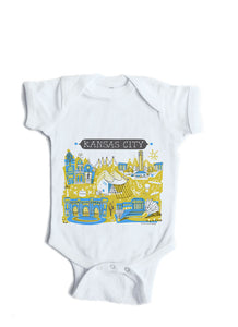 Kansas City Yellow/Blue Baby Onesie-Personalized Baby Gift