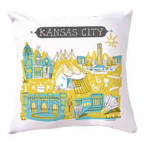 Kansas City Pillow Cover-Yel/Turq-16x16