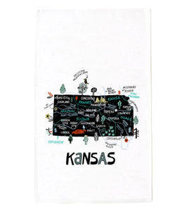 State of Kansas Tea Towel