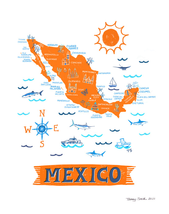 Mexico Wall Art-Custom City Print