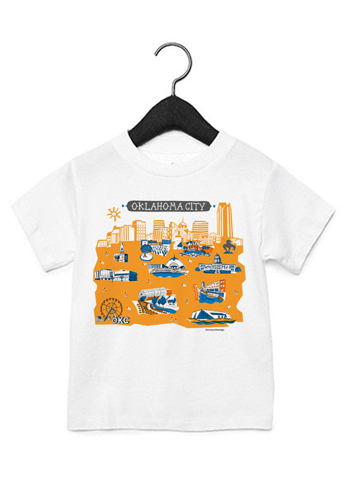 Oklahoma City skyline Kid Tee-Eco Friendly DTG Printed