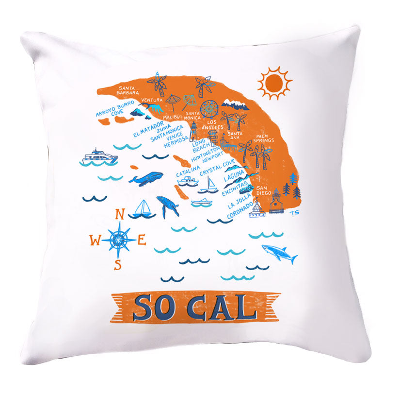 So Cal Beaches Pillow Cover-16 x 16