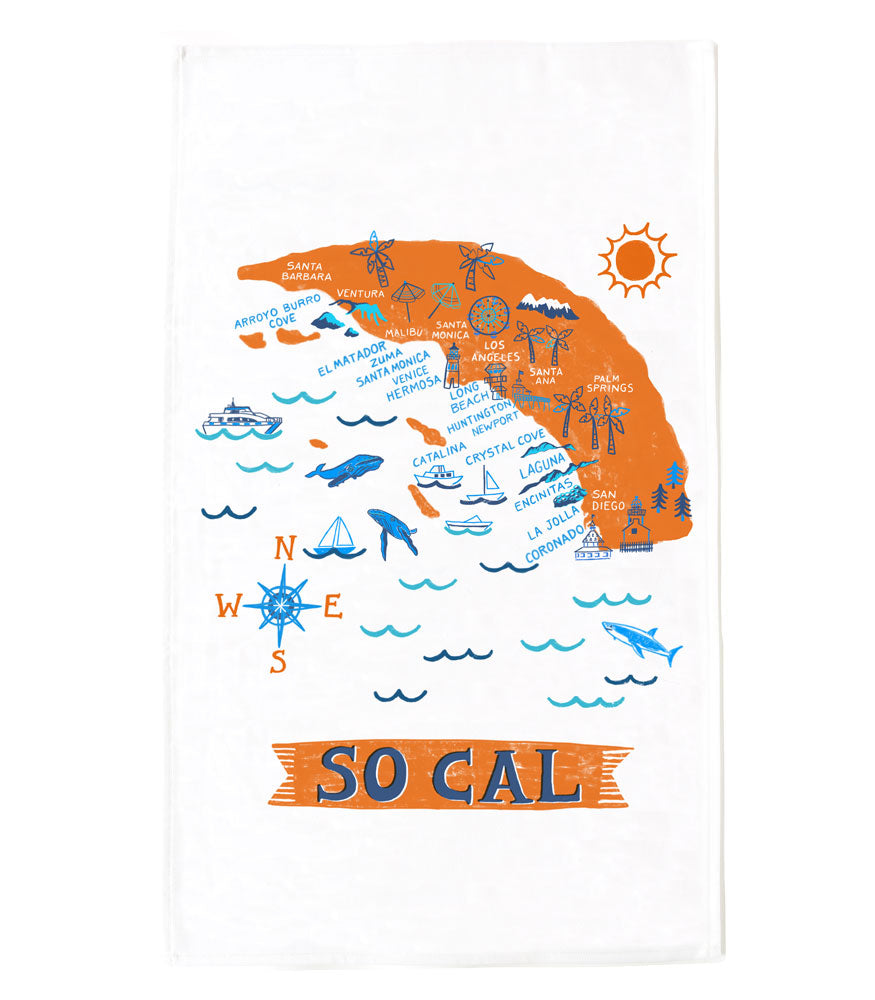 So Cal Beaches Tea Towel