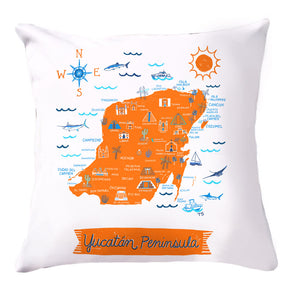 Yucatan Peninsula Pillow Cover-16 x 16