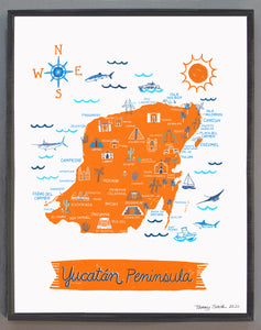 Yucatan Peninsula Wall Art-Custom City Print