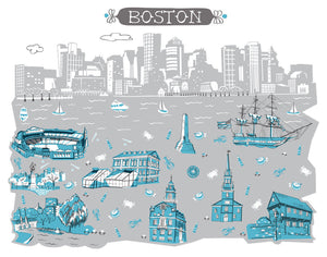 Boston MA Wall Art-Custom City Print