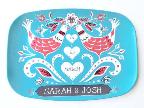 Mod Lovebirds Custom Platter-Personalized Wedding Gift