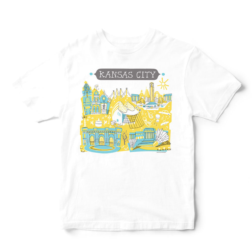 Kansas City T Shirt-Gold/Turquoise-Eco Friendly Print DTG