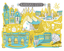 Kansas City Wall Art-Custom City Illustration
