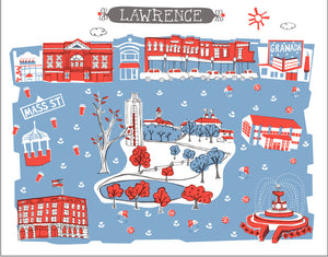 Lawrence KS Wall Art-Custom City Print