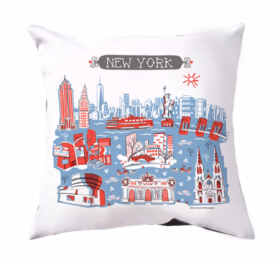 New York Pillow Cover-16x16
