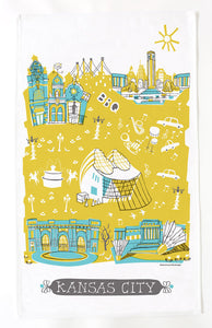 Kansas City Tea Towel-Yellow-Turquoise