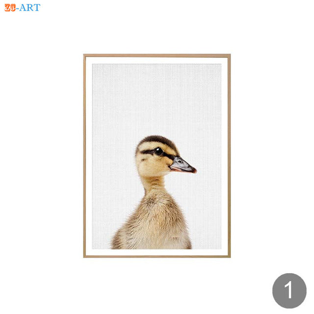 Pig Duckling Sheep Print Poster Farm Animal Minimalist Wall Art Modern  Farmhouse Canvas Painting for Kids Room Home Decor Framed