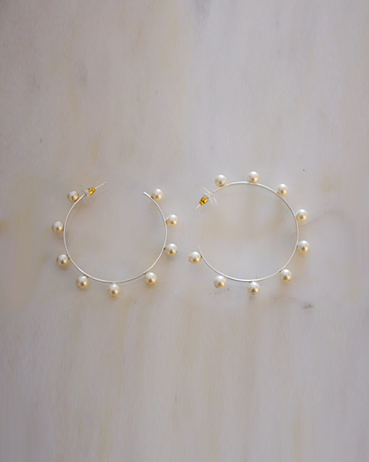 Pearl-Hoop Earrings - Mokshali