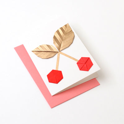 Carte Cerise en origami / Or et Rouge