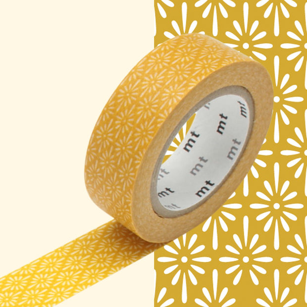 Masking Tape Étincelles blanches, Fond moutarde